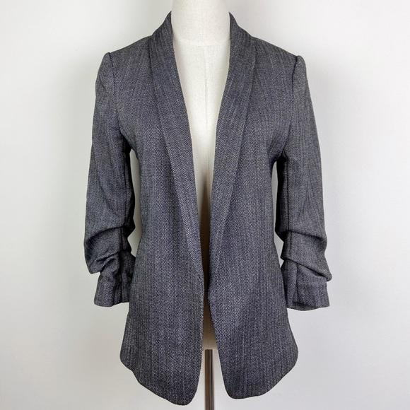 H & M Herringbone Gathered-Sleeve Open Front Blazer